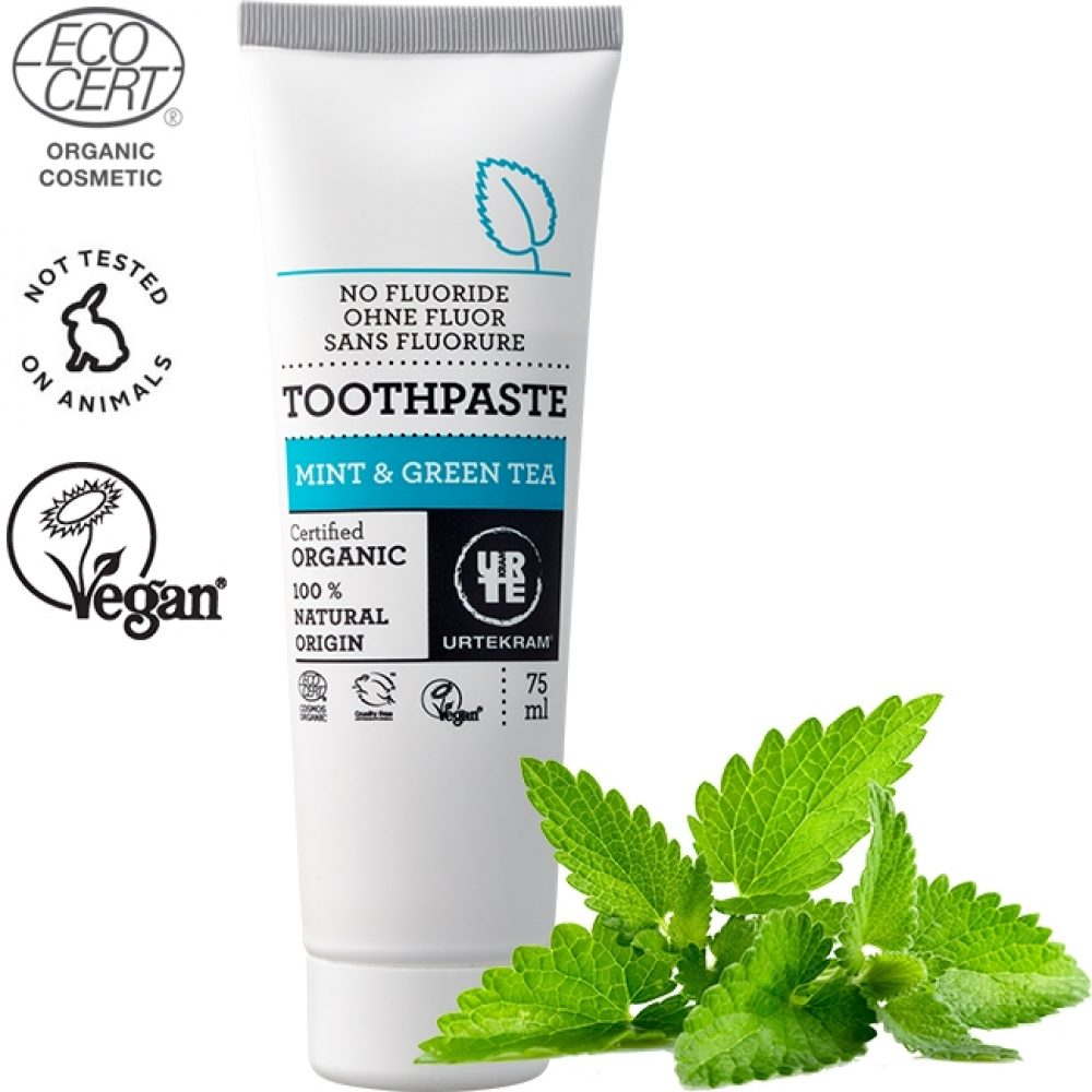 Organic Mint & Green tea toothpaste ((Urtekram 75ml)
