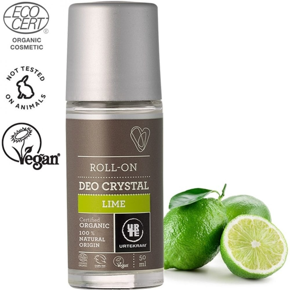 Organic deo crystal deodorant roll-on Lime (50ml)