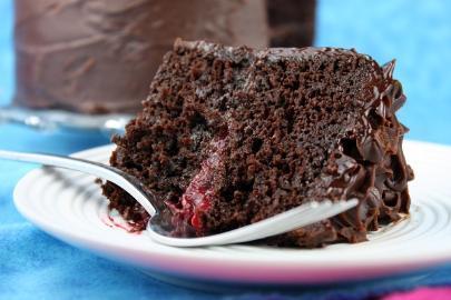 Goji berries cake with chocolate and vanilla