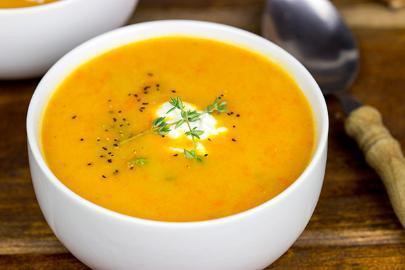 Суп-пюре со сладким картофелем и тыквой